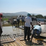 Betonieren der Decke über dem Kirchsaal